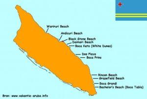 kaart stranden aruba oostkust