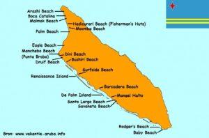 kaart stranden aruba westkust